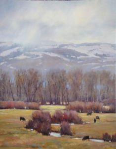 winter cow painting in idaho