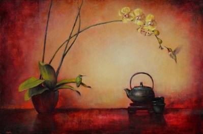 """©2013 LMcNee """"Tea For Two"""" 24x36 oil/linen"""