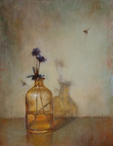 Amber Bottle & bees 16x12 600px
