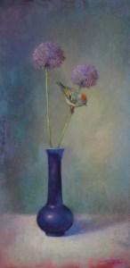 Springtime Allium & Kinglet 24x12 LMcNee 600px