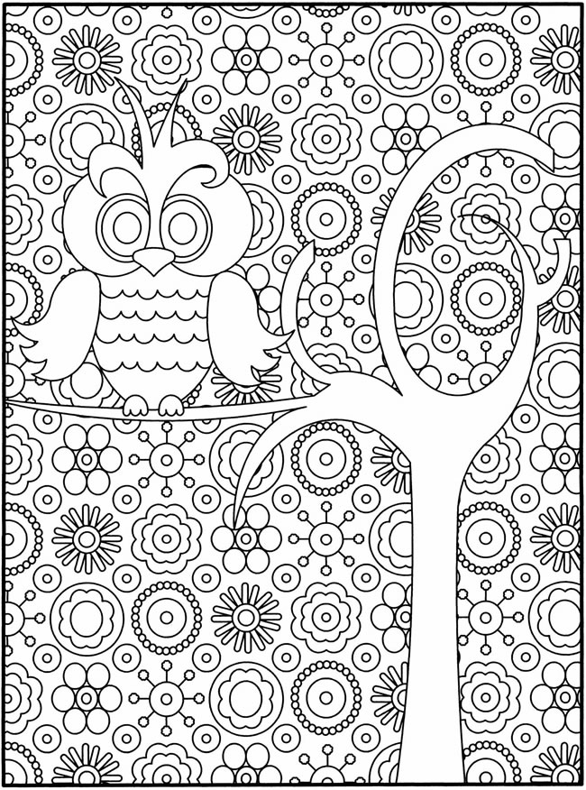 hard owl coloring pages for adults