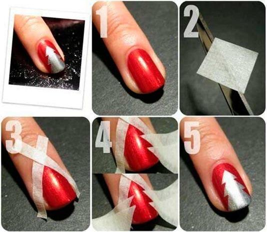 Christmas Tree Nails Nail Art Diy