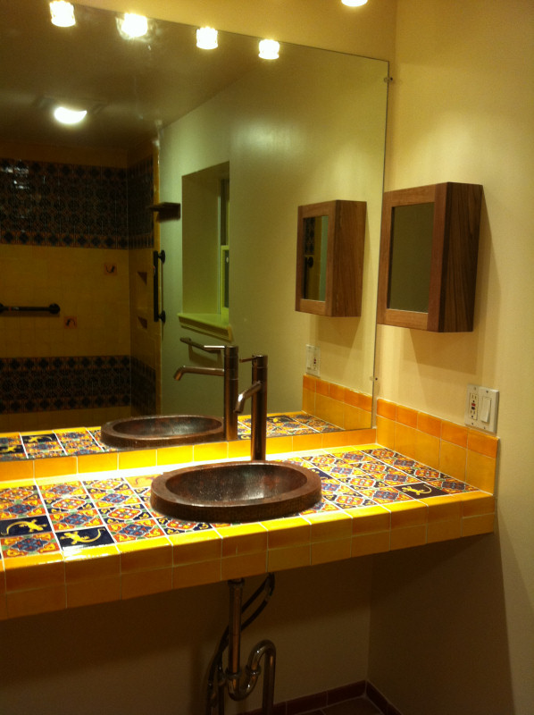 Bathroom Copper Sink On A Mexican Tile Vanity Top Mexican Home Decor Gallery Mission