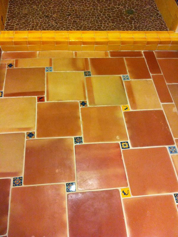 saltillo floor tile in the bathroom and