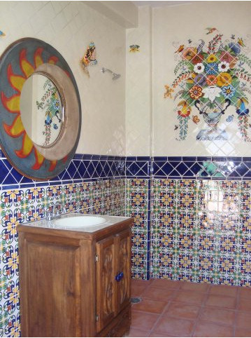 bathroom using mexican tile and a