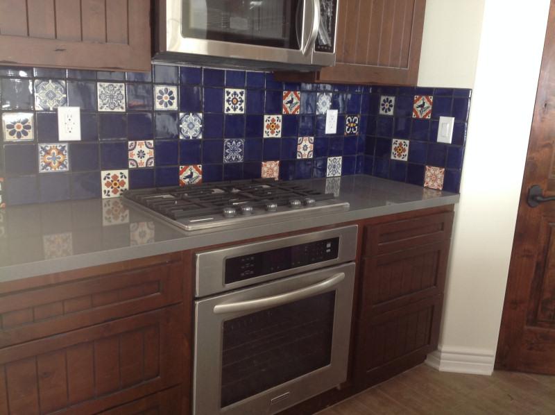 mexican tile in a kitchen backsplash