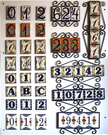 4 mexican tiles talavera house numbers horizontal iron frame home improvement building hardware