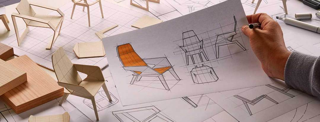 drawn plans and small models of a custom chair design