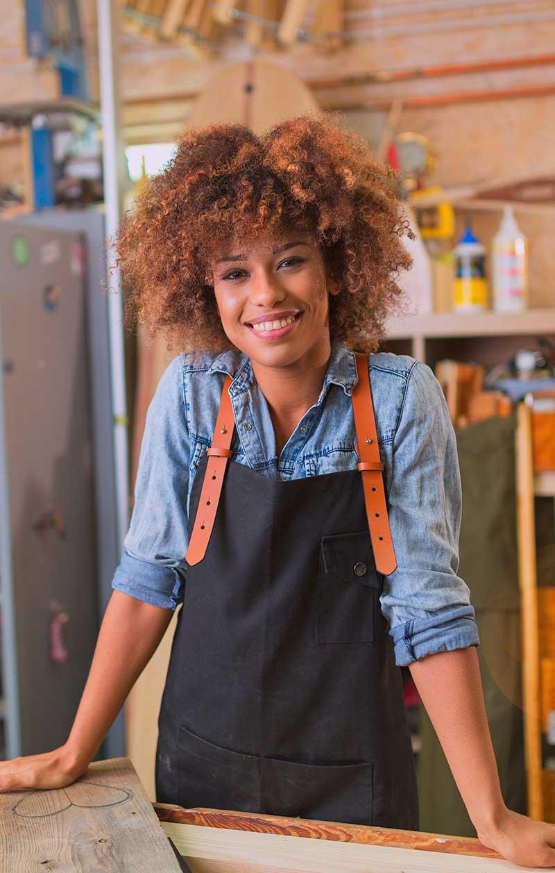 woman woodworker in shop
