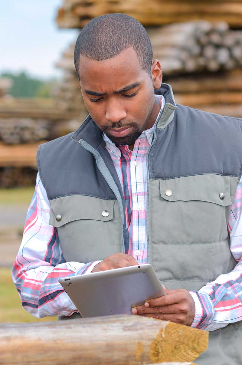 man checking tablet in lumberyard