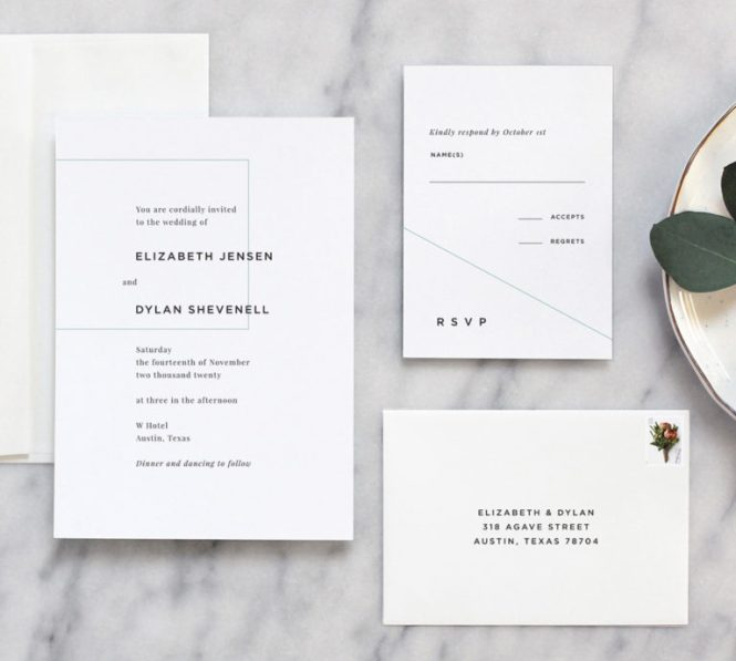 Linear Minimal Wedding Invitation Fine Day Press