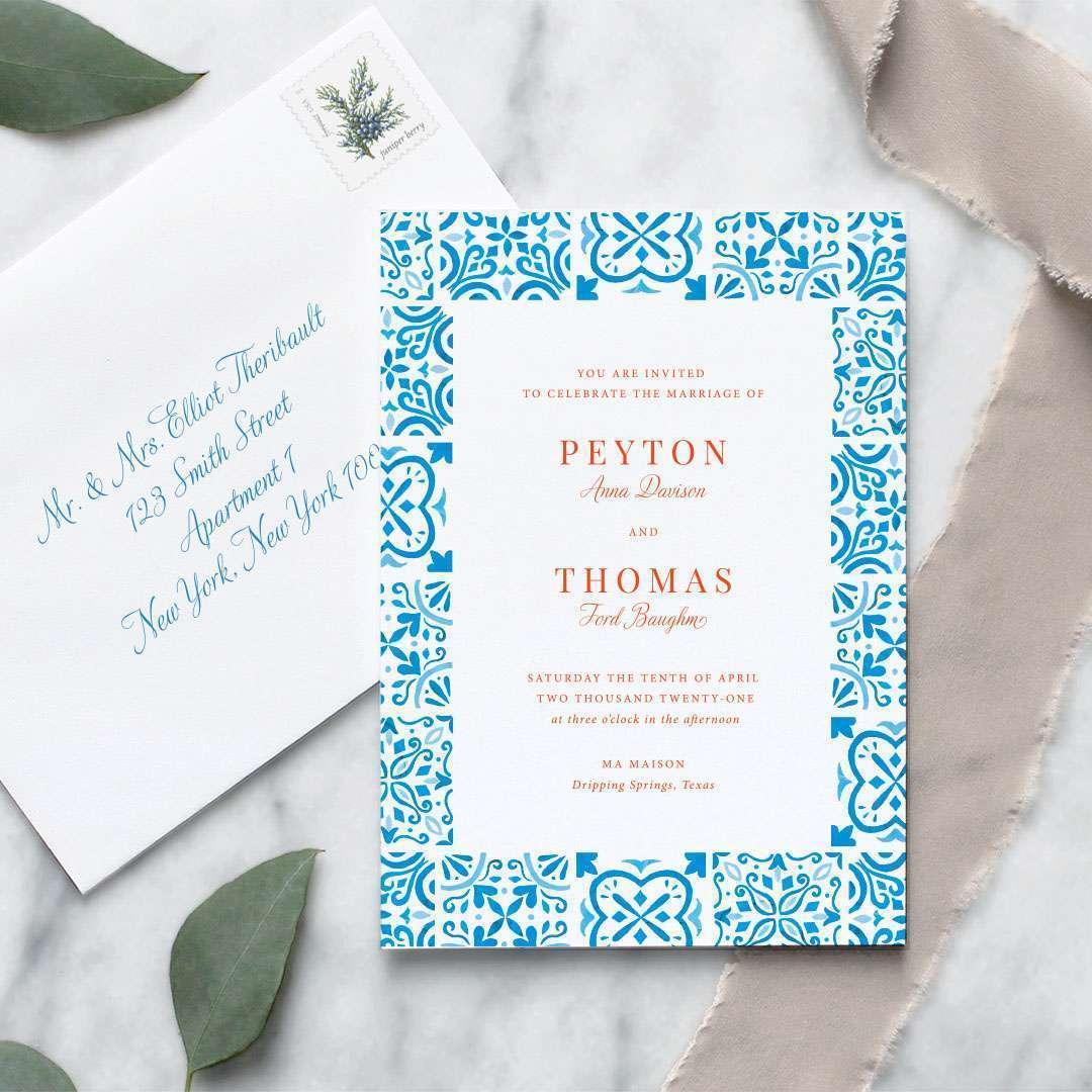 spanish tile wedding invitation bright