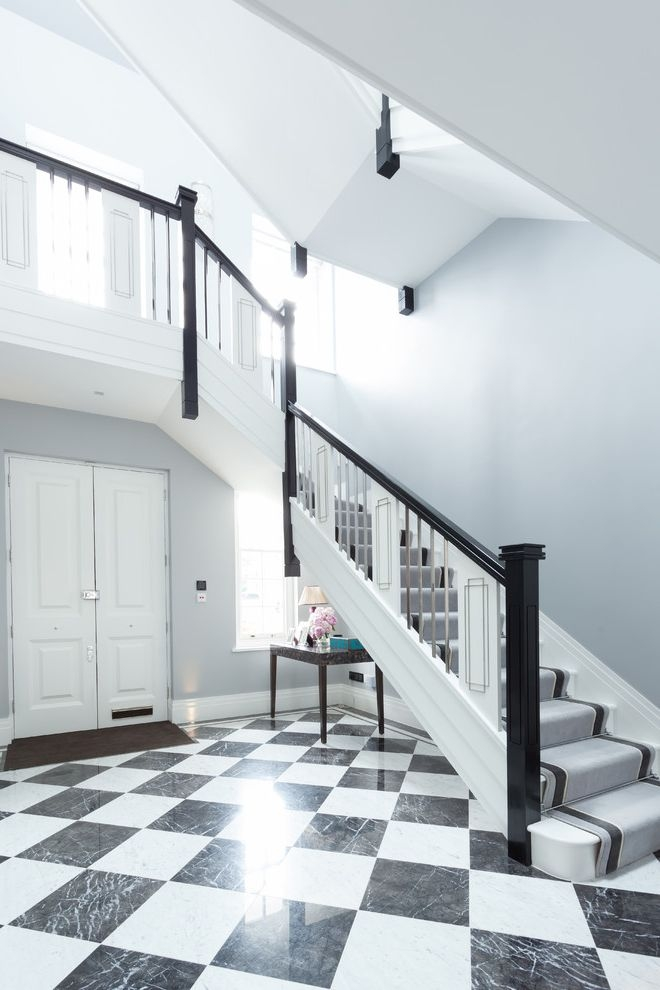 Carpets By Dennis Traditional Staircase And Black And White Black   White And Grey Banister   Newel Post   Narrow Awkward Staircase   Stair Railing   Entryway   Wall