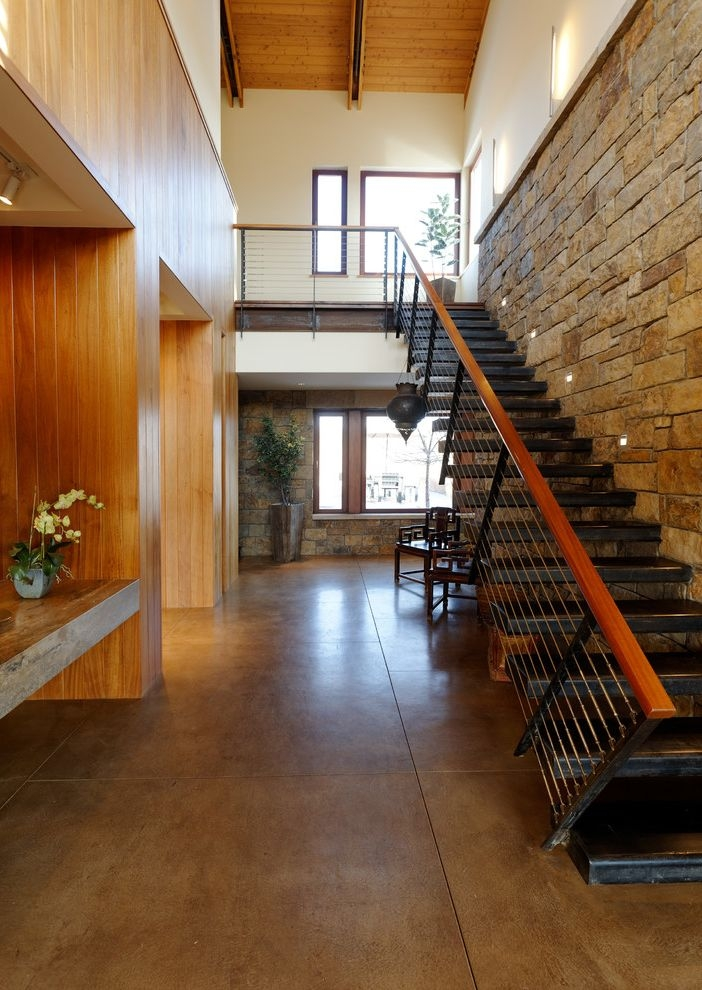 Concrete Staining Oc Contemporary Staircase And Black Tread Built | Wall To Floor Handrail | Glass | Paint Colors | Staircase | Wrought Iron | Concrete