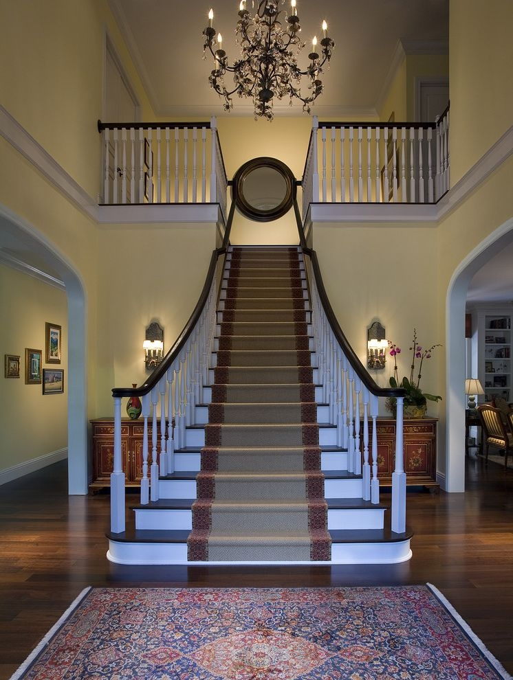 Deans Carpet With Traditional Staircase And Black Chandelier | Black Banister With White Spindles | Brazilian Cherry Stair | Victorian | Traditional Home | Iron Spindle White Catwalk Brown Railing | Gray