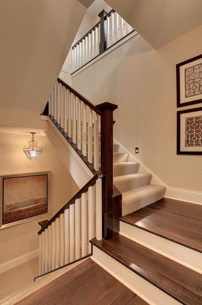 How Much Does It Cost To Carpet Stairs Traditional Staircase Also   Carpet Runners For Stairs And Landing   Carpet Hampton Style   Hallway   Stair Runner Matching Landing   Fitted   Farmhouse