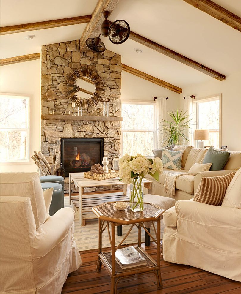 Oversized Comforters Farmhouse Living Room And Bamboo Floors Cathedral Ceiling Fan Floating Wood Mantel Slipcovered