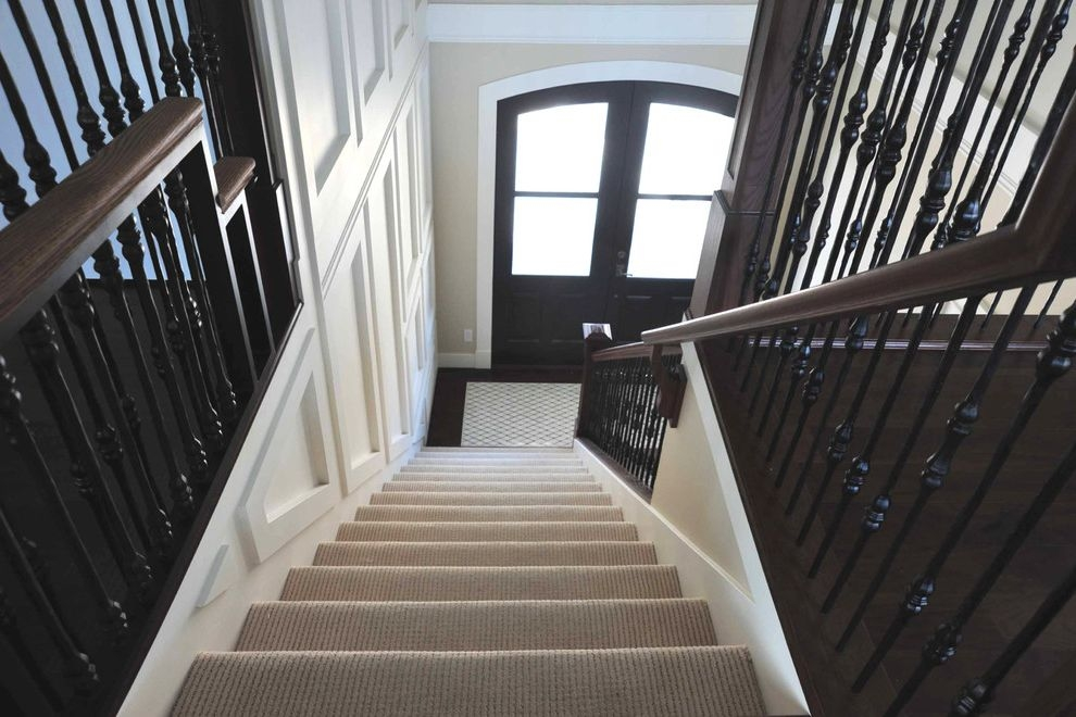 Shaw Carpet Reviews With Transitional Entry Also Banister Black | Black And White Stair Carpet | Entry Hall | Square Pattern | Luxurious | American Style | Small Space