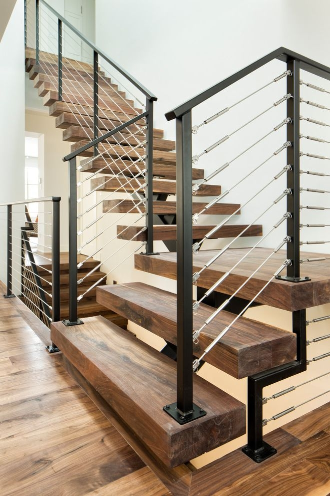 Stair Tread Kit With Contemporary Staircase And Black And Silver | Dark Wood Stairs With White Risers | Wall | Beautiful Wood | Wooden | Modern | Floor