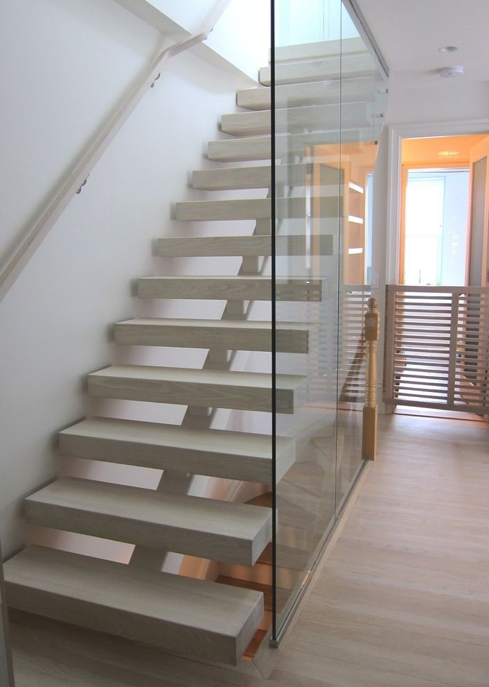 Thick Stair Treads Contemporary Family Room Also Baby Gate | White Oak Stair Treads Near Me | Hardwood Flooring | Quarter Sawn | Lowes | Wood | Staircase Railings