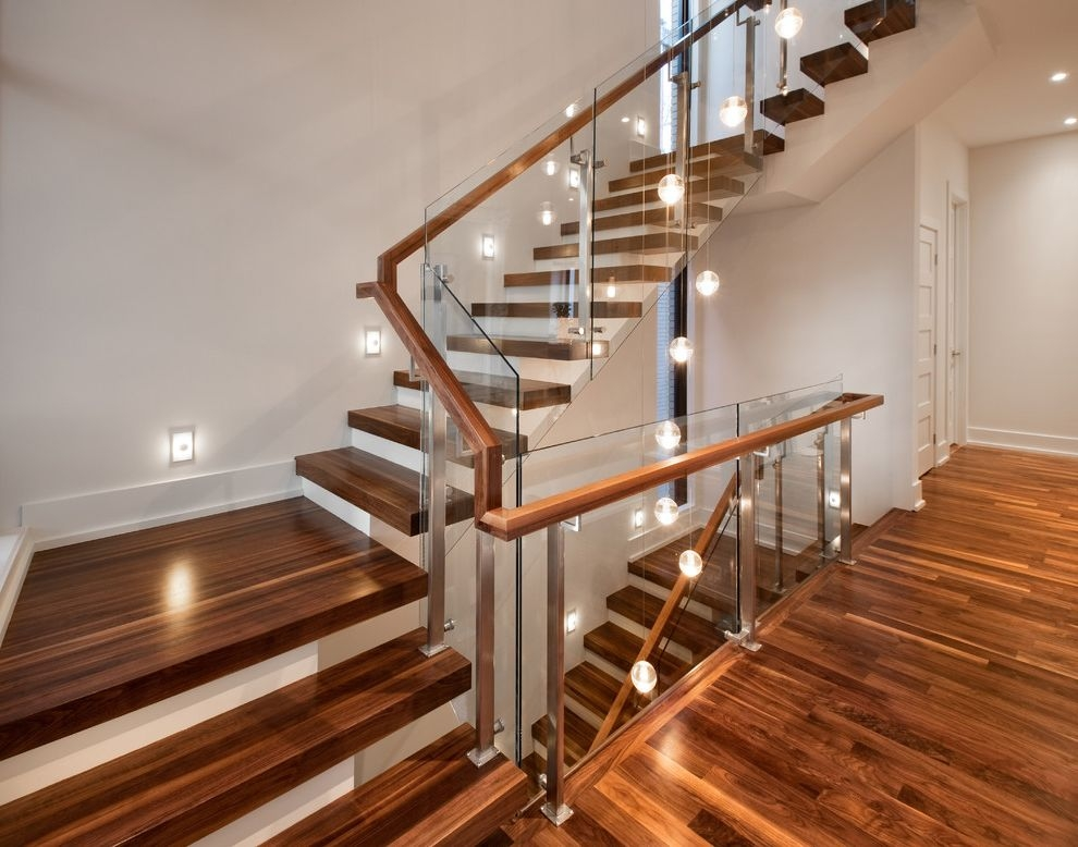 Thick Stair Treads Contemporary Staircase Also Glass Panels Glass | Thick Wood Stair Treads | Solid Weathered | Baby Blue White Stair | Custom | Prefinished | Glue Laminated