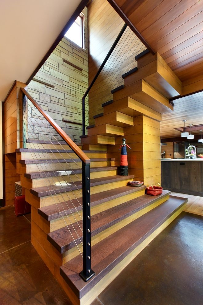 Thick Stair Treads Rustic Staircase And Cable Railing Contemporary   Modern Wood Stair Treads   Country Style   Box   Square Edge   Eased   Open Riser