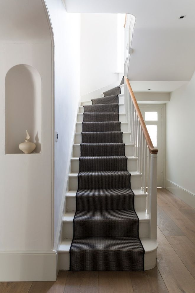 Replacing Carpet On Stairs Victorian Staircase And Black And White | White Stairs With Carpet | Black | Chic | Victorian Staircase Carpet | Hardwood | Pinstripe Grey