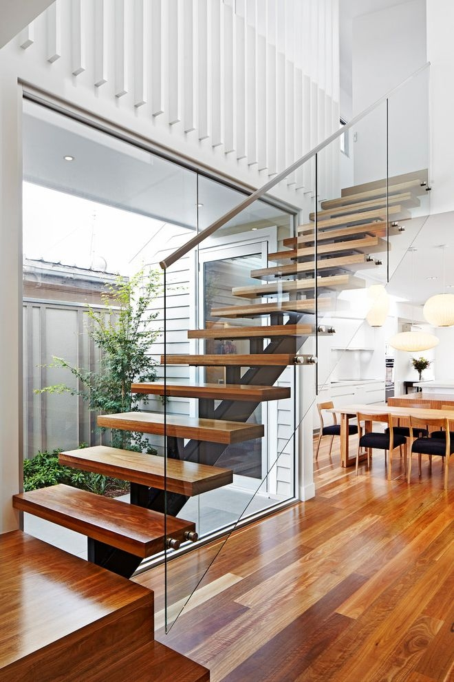 Floating Stairs Cost Modern Staircase And Curved Staircase | Stair Railing Design Modern With Glass | L Shape | Interior Residential Metal | Simplistic | Grill | Button Glass