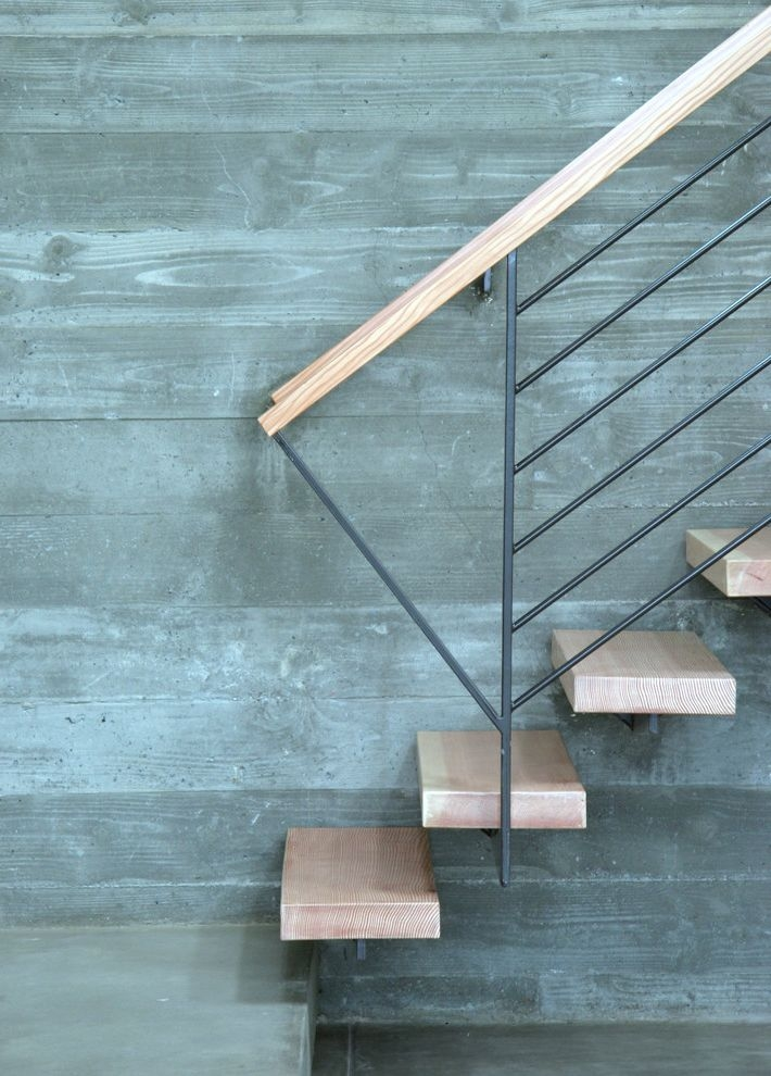 Floating Stairs Cost For Modern Staircase Also Board Formed   Concrete And Wood Stairs   Concrete Wall   Separated   Concrete Building Interior   Glass Balustrade   White Riser Wood