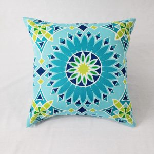 A geometric outdoor floral cushion