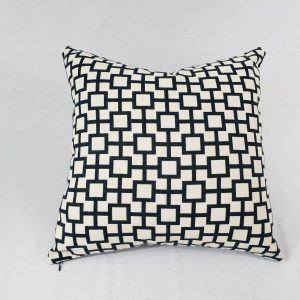 Navy cat cradle geometric cushion with white background