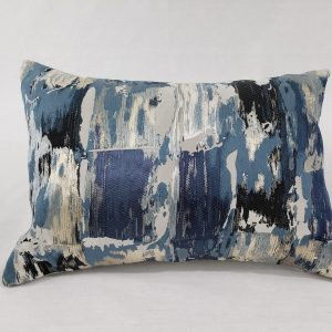 A silk silver & navy cushion