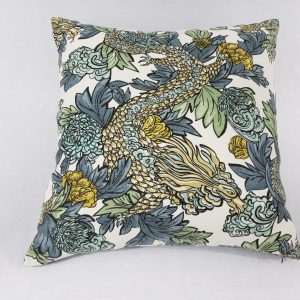 A dragon floral cushion with velvet back
