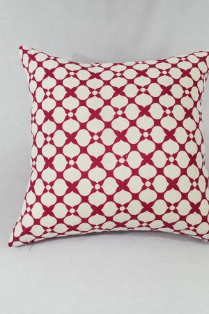Fuchsia and white cushion with spade pattern