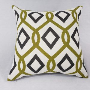 Grey & green geoemetric cushion