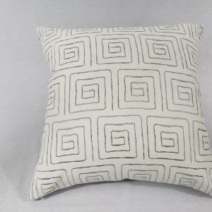 Square lines geometric cushion with white background