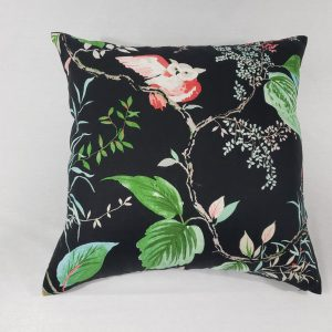 Tropical owl cushion with black background