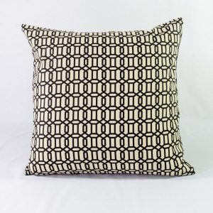 Black & White Geo Link With Black Plain Back - 22x22 - Qty2 - 1of2