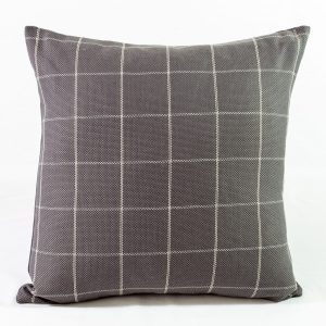 Grey Check Cushion With Grey Herringbone Linen Back - 18x18 - Qty2 - 1of2