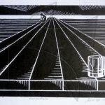 Сам - линогравюра, графика от Любомира Попова Fineluart
