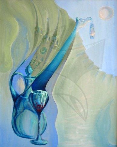 Зелена синева - картина живопис, картина с маслени бои