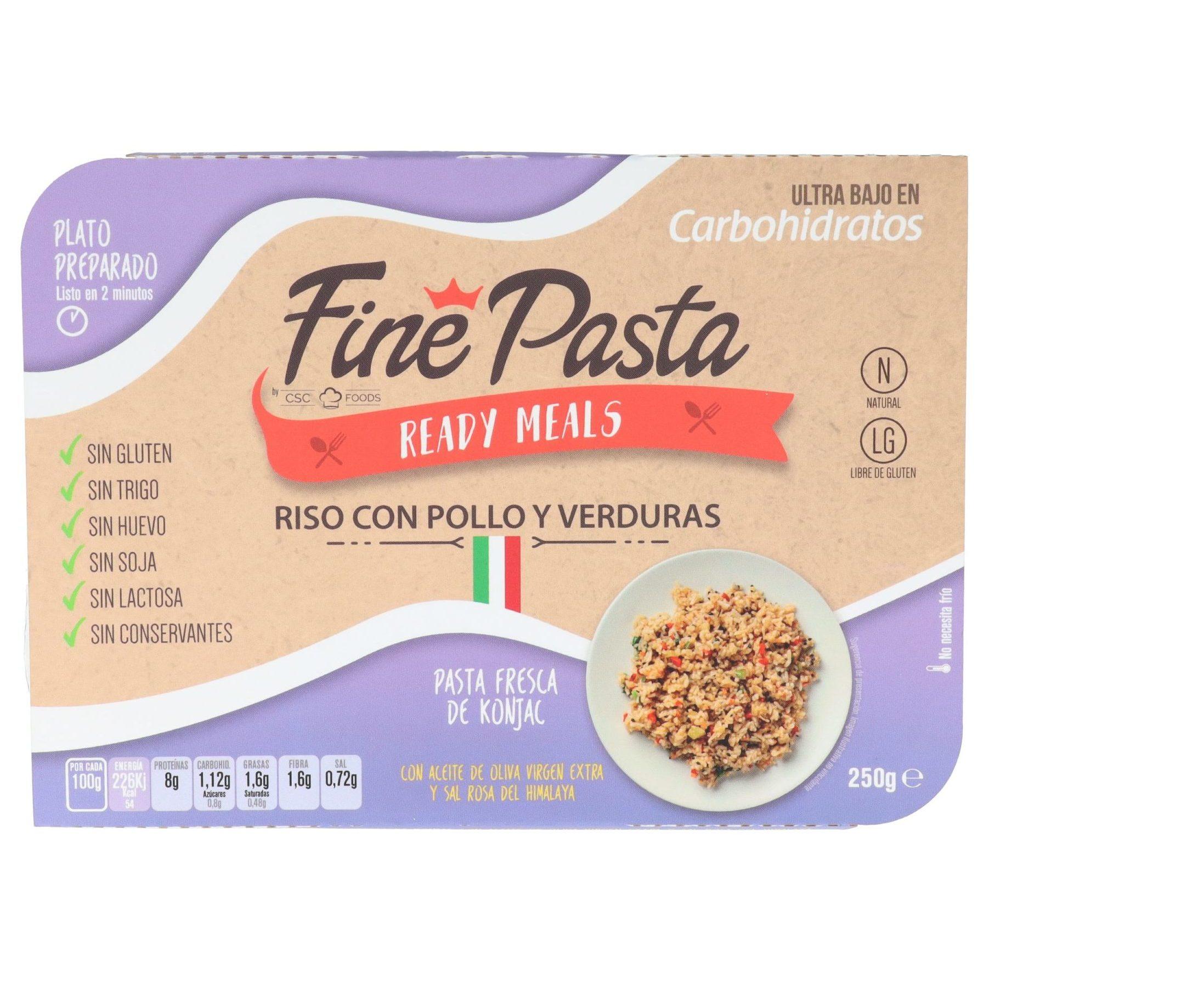 Pasta baja en carbohidratos Fine Pasta Riso con Pollo y Verduras