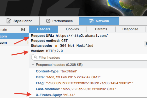 "Using ""Web developer->Network"" to see HTTP/2 in Firefox"
