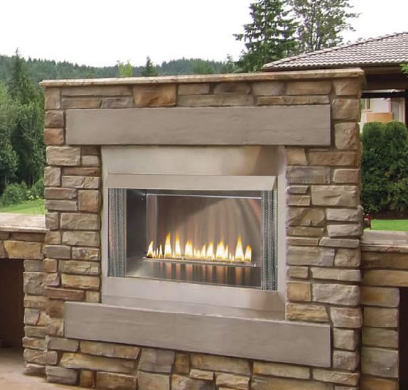 Double Sided Gas Fireplace Indoor Outdoor