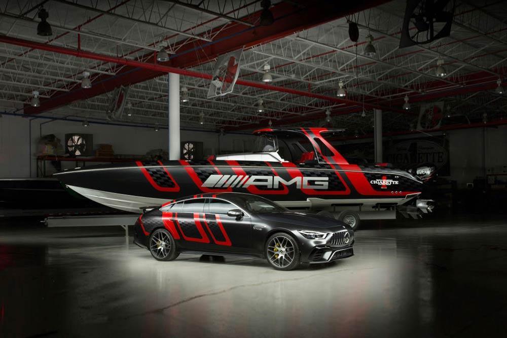 41´ Cigarette Racing Speedboot und Mercedes-AMG GT 63 S
