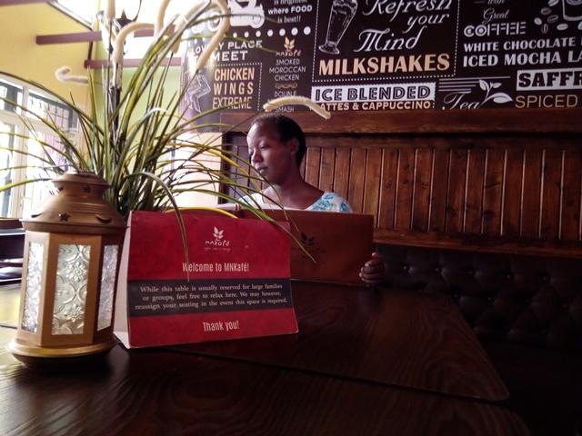 Mnkafe restaurant's client (somewhere in Africa)