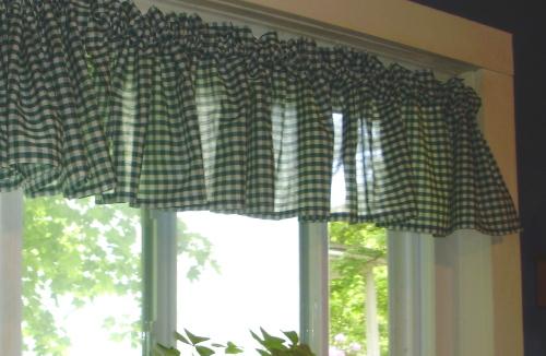 Hunter Green Gingham Window Valances