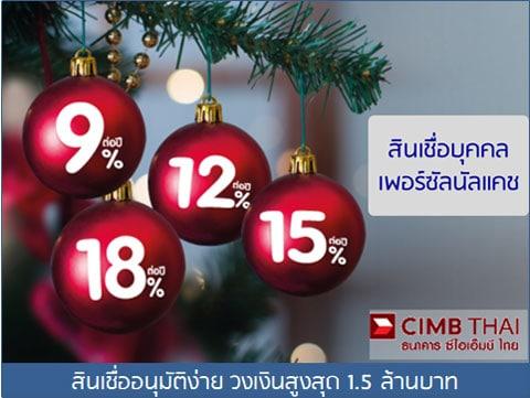 CIMB-สินเชื่อบุคคลอนุมัติง่าย วงเงินสูงสุด 1.5 ล้านบาท
