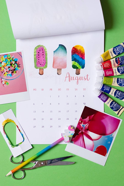 August - Kalender 2018 zum Fingerstempeln