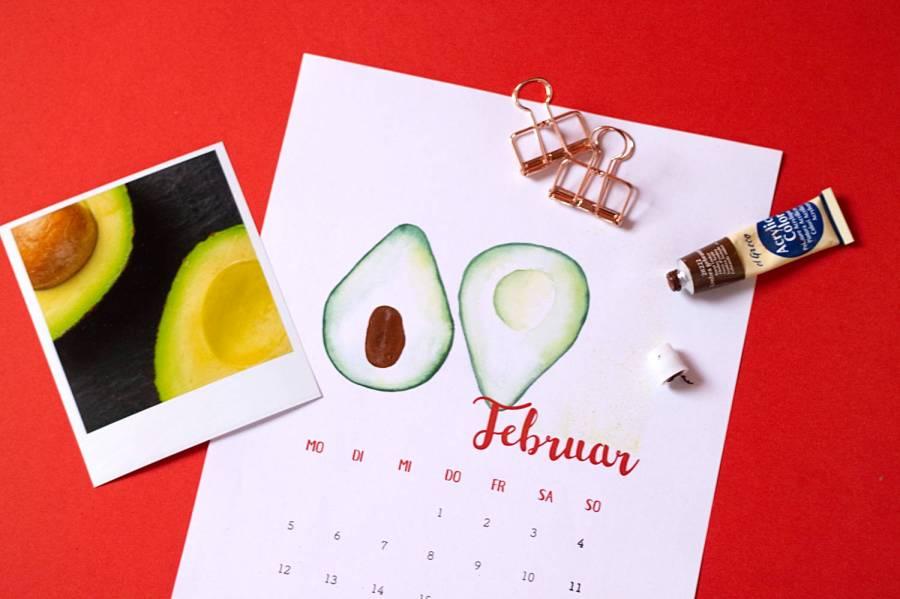 Februar - Kalender 2018 zum Fingerstempeln